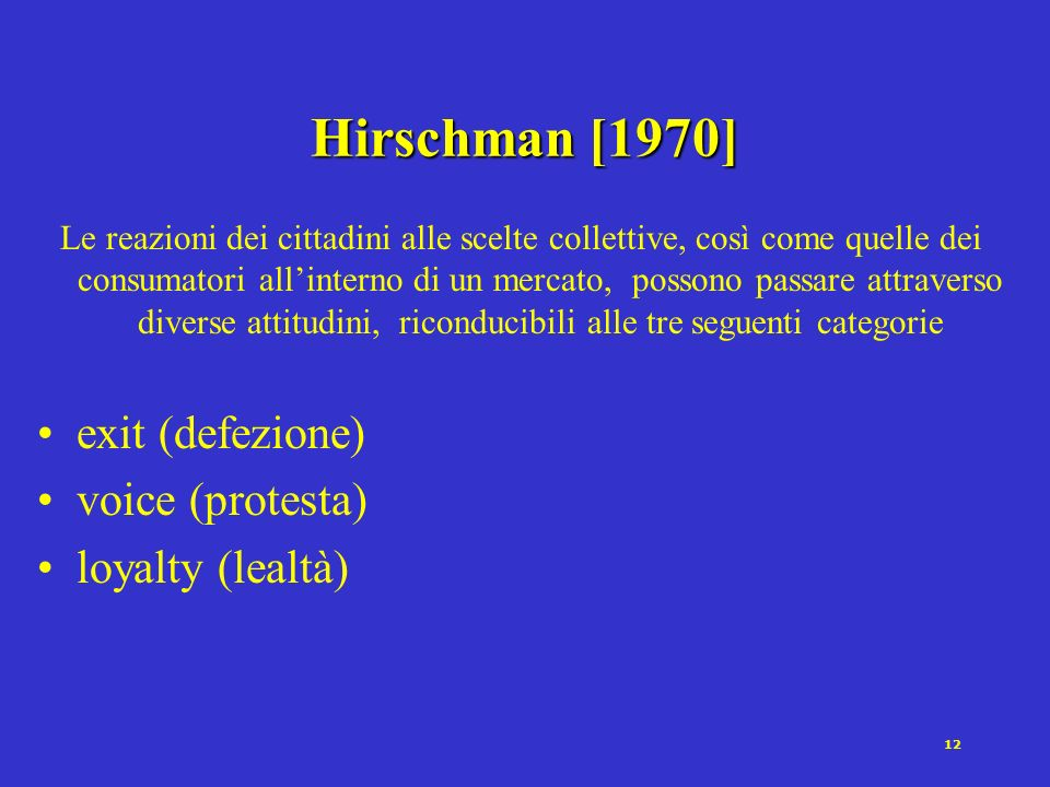 Hirschman [1970] exit (defezione) voice (protesta) loyalty (lealtà)